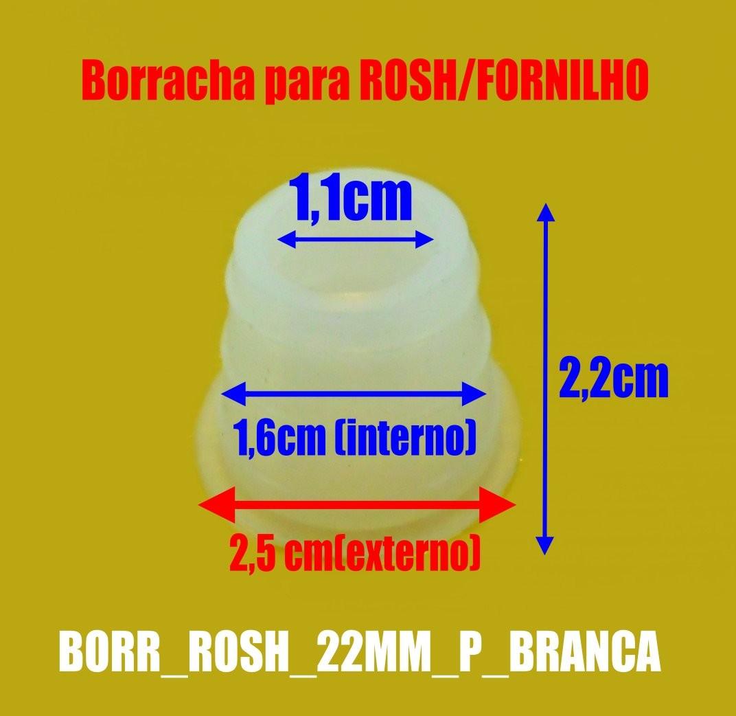 Borracha / Vedação para fornilho, 22 mm de altura PEQUENO/MÉDIO. Em silicone. BORR_ROSH_22MM_P_BRANCA