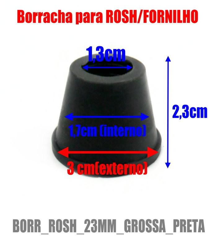 Borracha / Vedação para fornilho, 23mm de altura GRANDE e GROSSA. Em latéx preto. - BORR_ROSH_23MM_GROSSA_PRETA