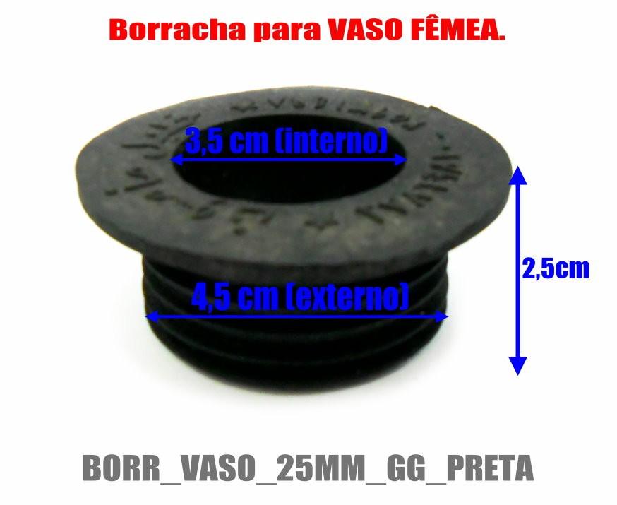 Borracha / Vedação para vasos grandes em latéx preta. 2,8cm altura. Diâmetros: 4,5cm ext.X 3,5cm int.