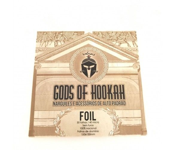 CAIXA de Folhas de Alumínio para narguile extra-grosso (40 micras) GODS OF HOOKAH, corte quadrado, 50 unid.