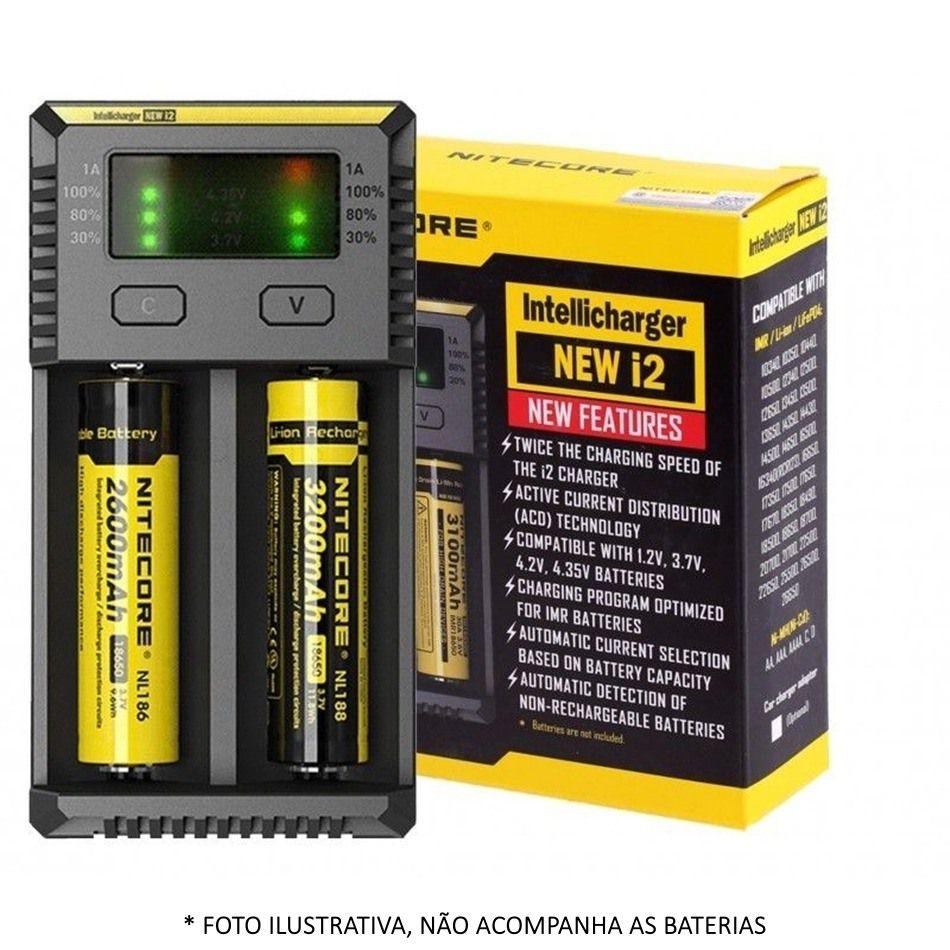 Carregador de Baterias Nitecore® NEW i2 - p/2 baterias (18650 14500 16340 26650)