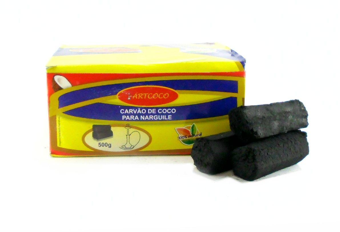 Carvão de coco, duas escovas, abafador MD, fogareiro 220V, pegador e folhas de alumínio.