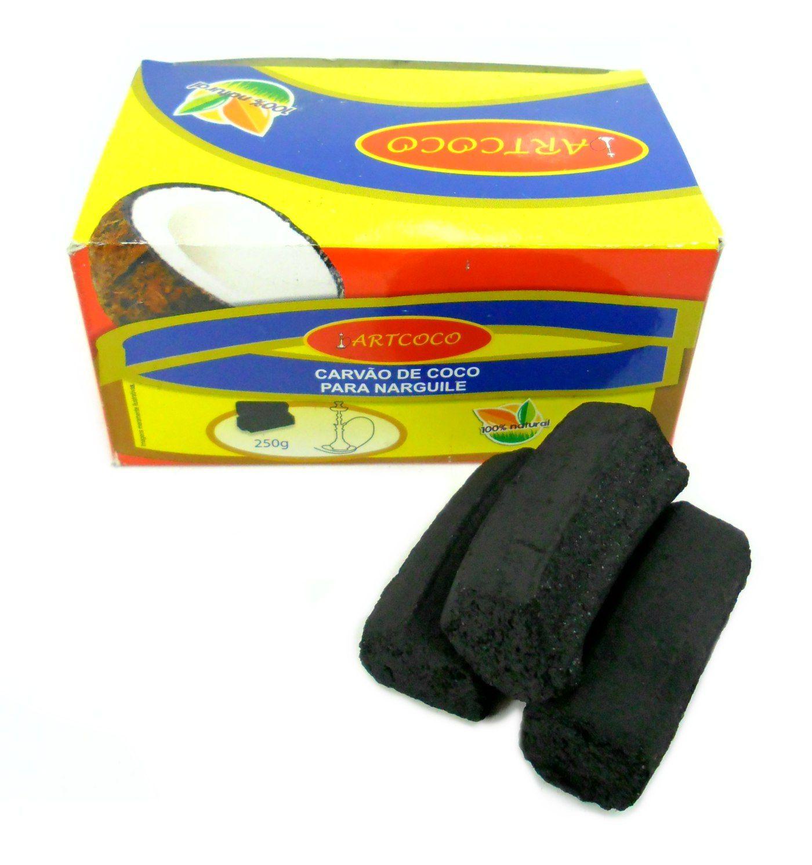 Carvão de coco para narguile e incenso ART COCO 250G - caixa com 15 unidades HEXAGONAL.