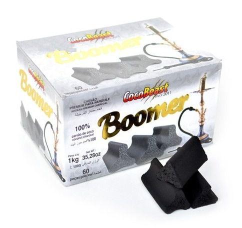 Carvão de coco para narguile e incenso COCO BEAST BOOMER 1kg - 60 peças - triangular.