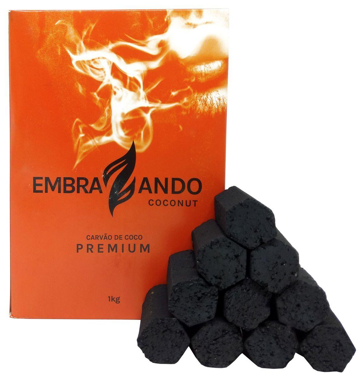 Carvão de coco para narguile e incenso EMBRAZANDO COCONUT 1kg - 58 unid. - hexagonal.