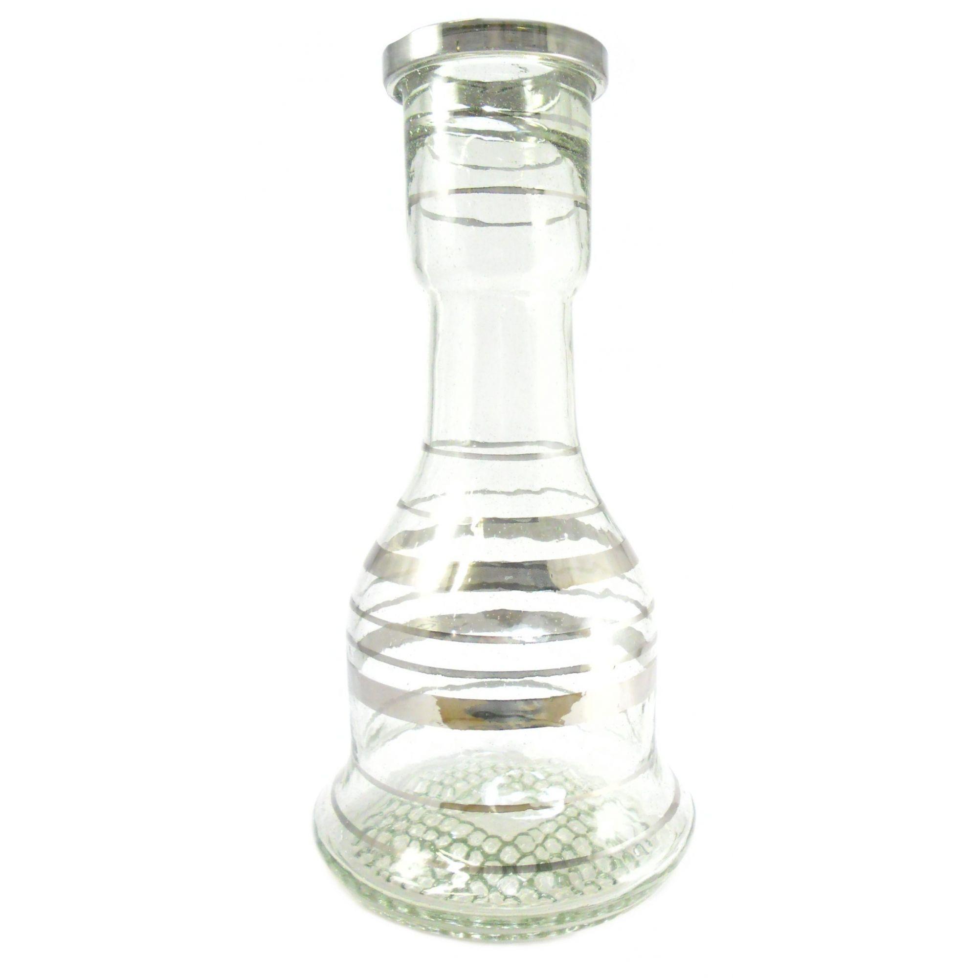 Cinco (5) vasos p/narguile formato SINO GRANDE 30cm com listras prateadas. Bocal 5,0cm de diâmetro.