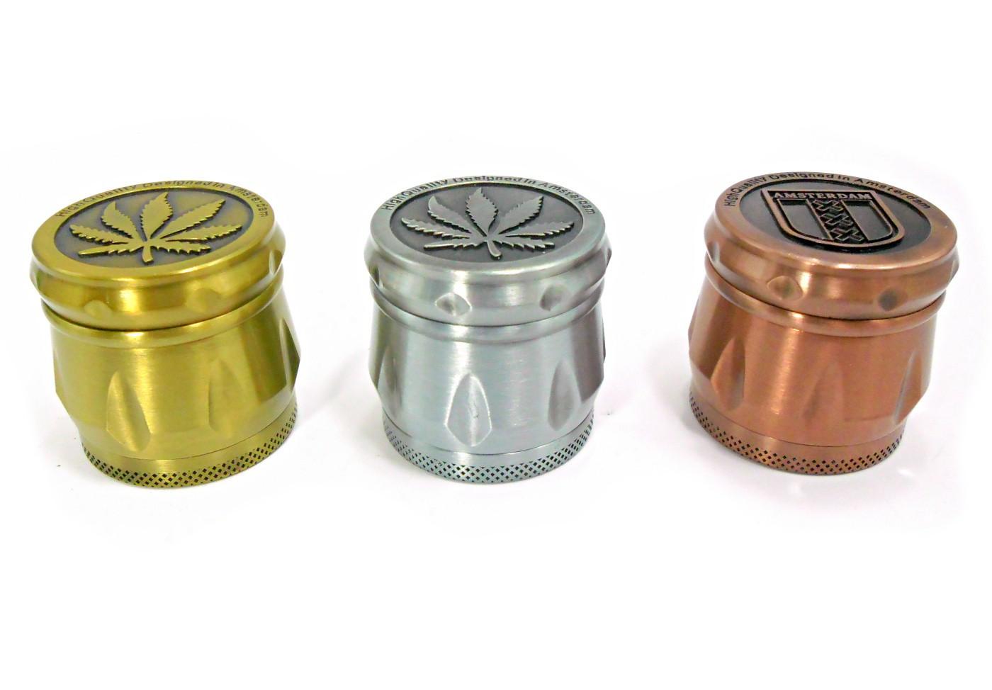 Desfiador / dichavador de tabaco em metal, MÉDIO, bifásico (com compartimento rosqueado) decoração AMSTERDAM 420