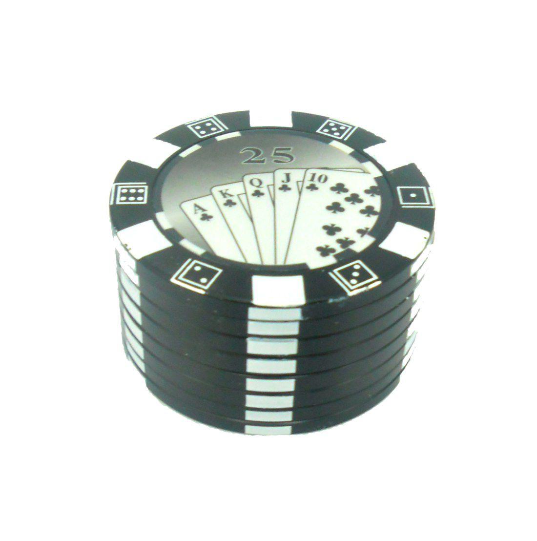 Desfiador / triturador / dichavador em metal, decoração Fichas de Pôquer (poker chip). Cor Preto.
