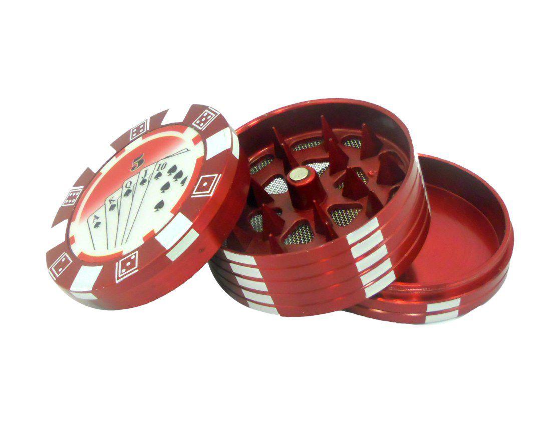 Desfiador / triturador / dichavador em metal, decoração Fichas de Pôquer (poker chip). Cor Vermelho.