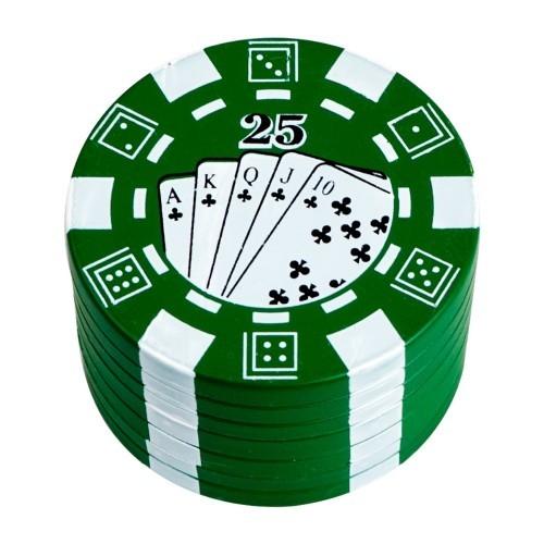 Desfiador / triturador / dichavador em metal, decoração Fichas de Pôquer (poker chip). Cor Verde.