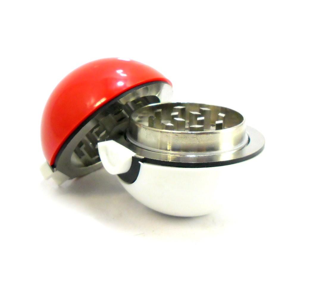 Desfiador / triturador / dichavador em metal, decoração motivo Pokebola, vermelho e branco. - DICHAVADOR_POKEBOLA