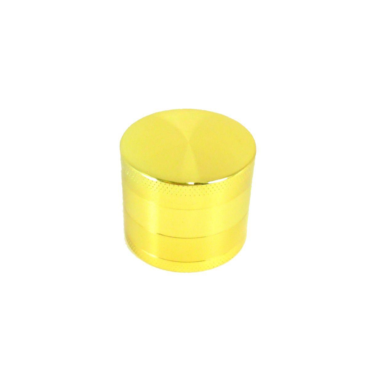 Dichavador/ Desfiador/ Triturador em metal, NEW MÉDIO trifásico (3,4cm. alt / 3,9cm diâm.) Dourado