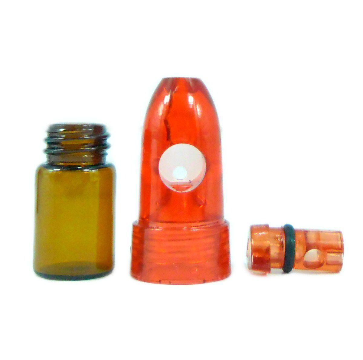Dosador Snuff Bullet, inalador para rapé. Em ACRÍLICO E VIDRO. 5,0cm de altura.