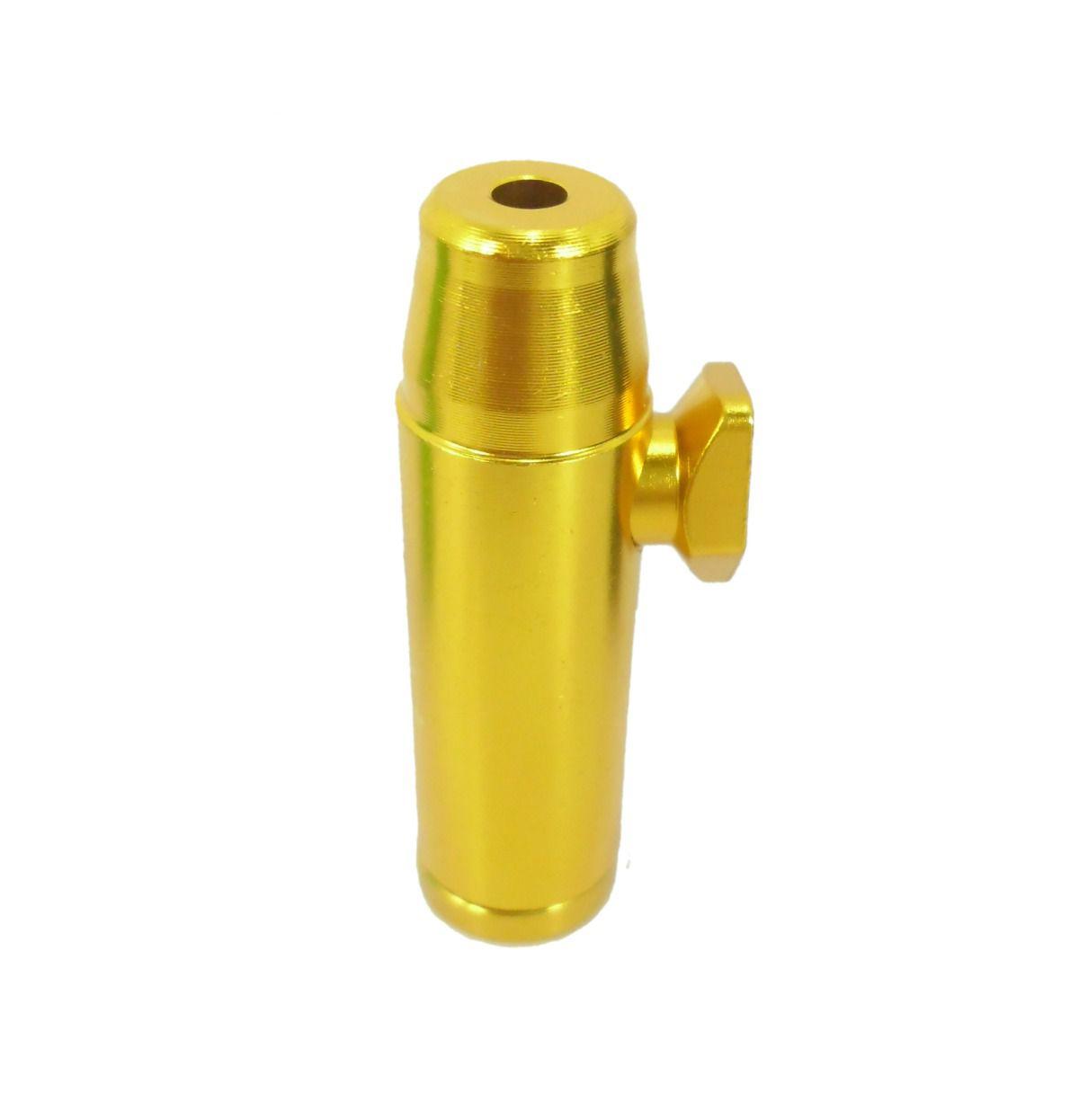Dosador Snuff Bullet para rapé. Em Alumínio. 5,2cm de altura.