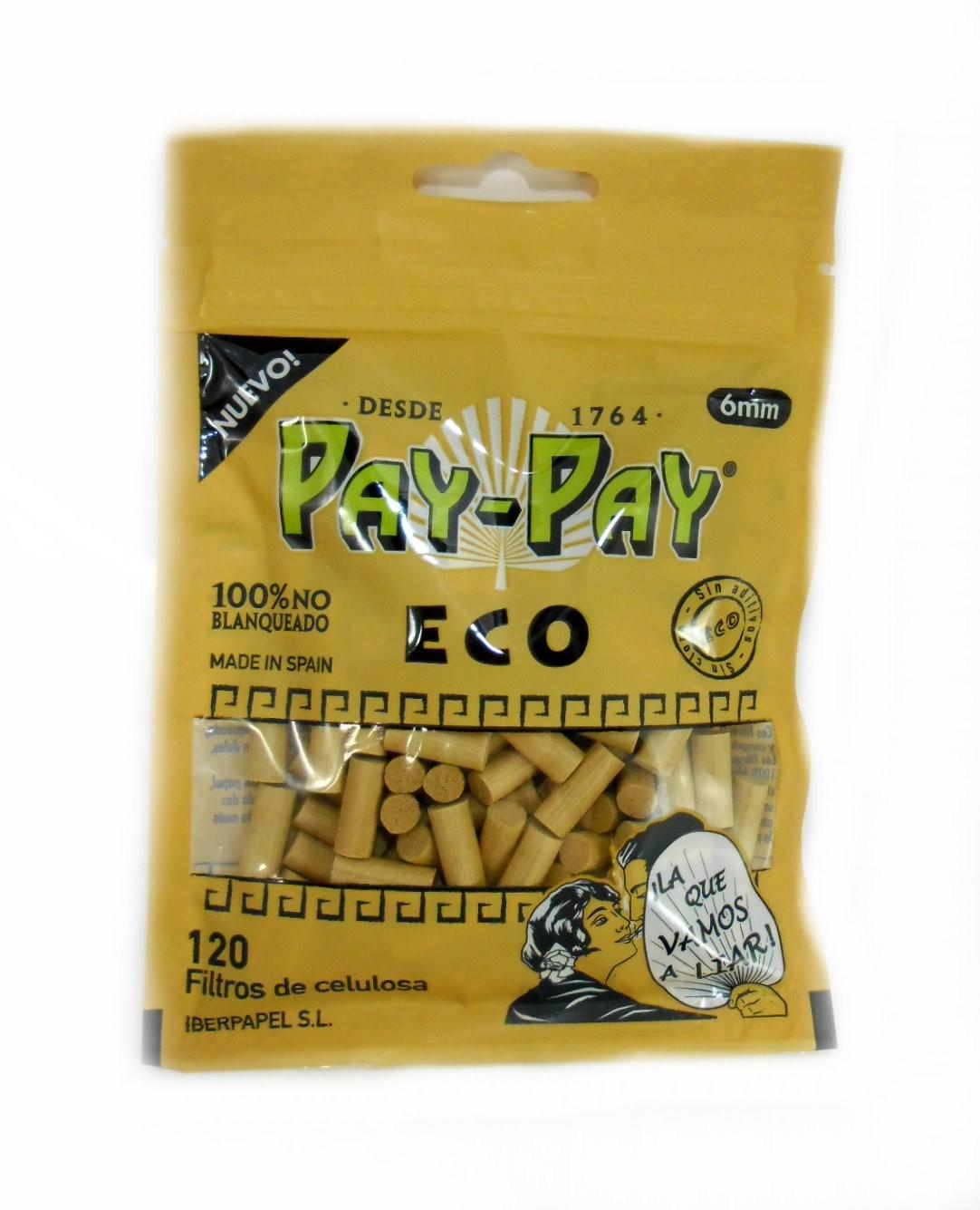 Filtro Pay-Pay ORGÂNICO para Cigarros. Tamanho Slim 6MM. Pacote com 120 unid.