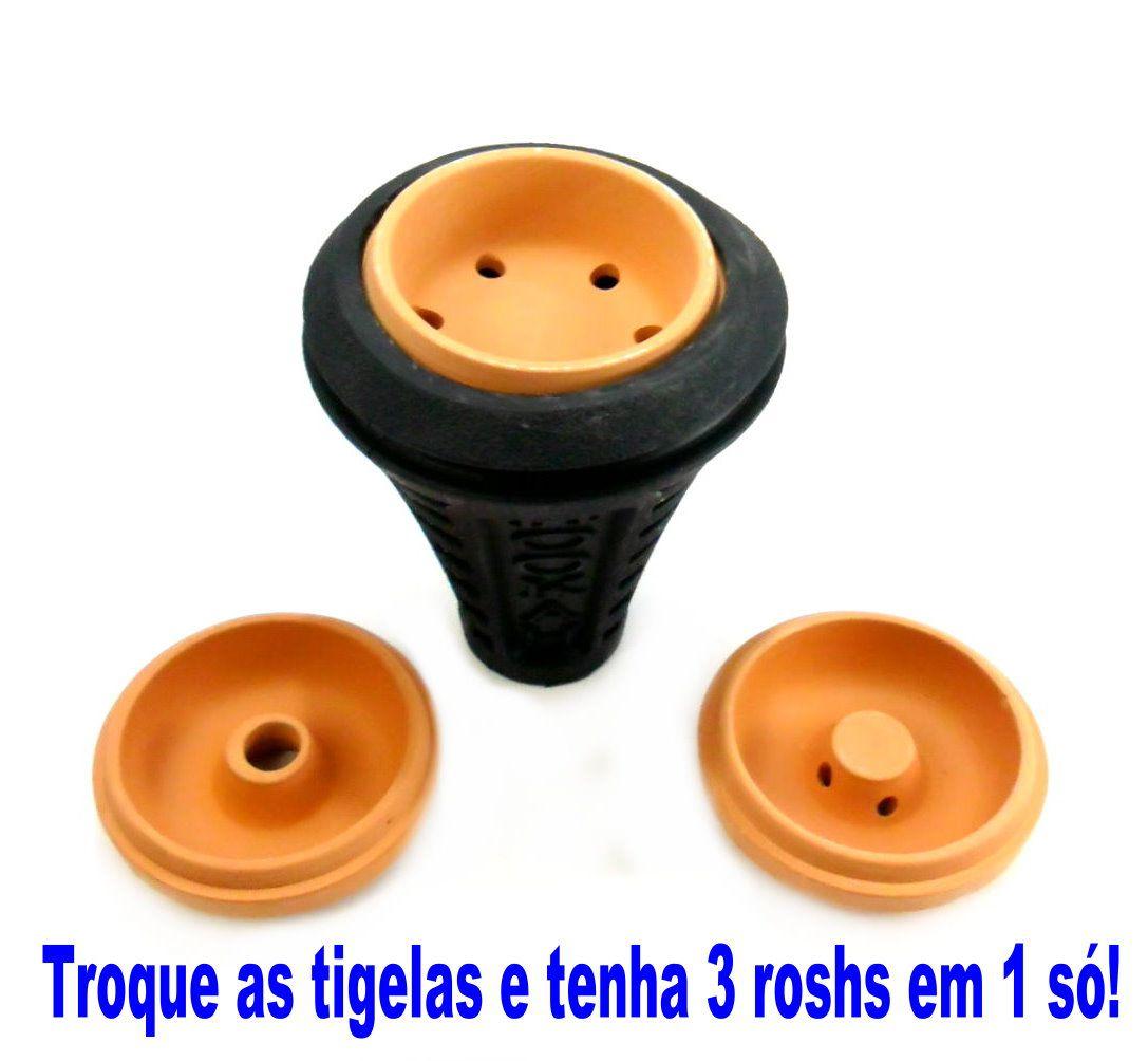 Fornilho/Rosh 3x1 Silicone + Barro, com 3 tigelas de argila, 12cm, cor preto. - ROSH_3X1