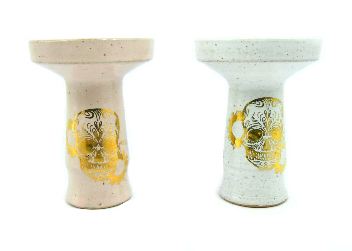 Fornilho/Rosh BETA c/ desenhos DOURADOS, cerâmica refratária. 10cm altura, 7,3cm bocal.