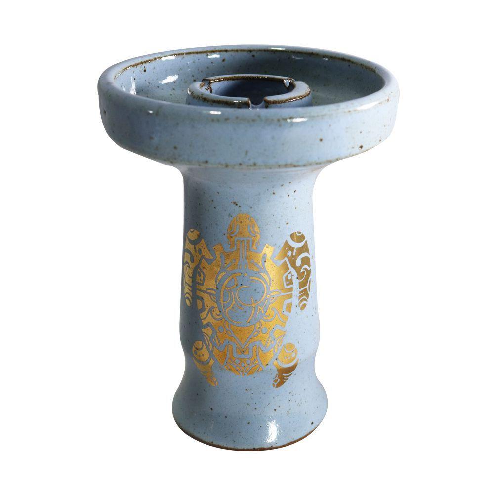 Fornilho/Rosh BETA c/ desenhos DOURADOS, cerâmica refratária. 10cm altura, 7,3cm bocal. Azul.