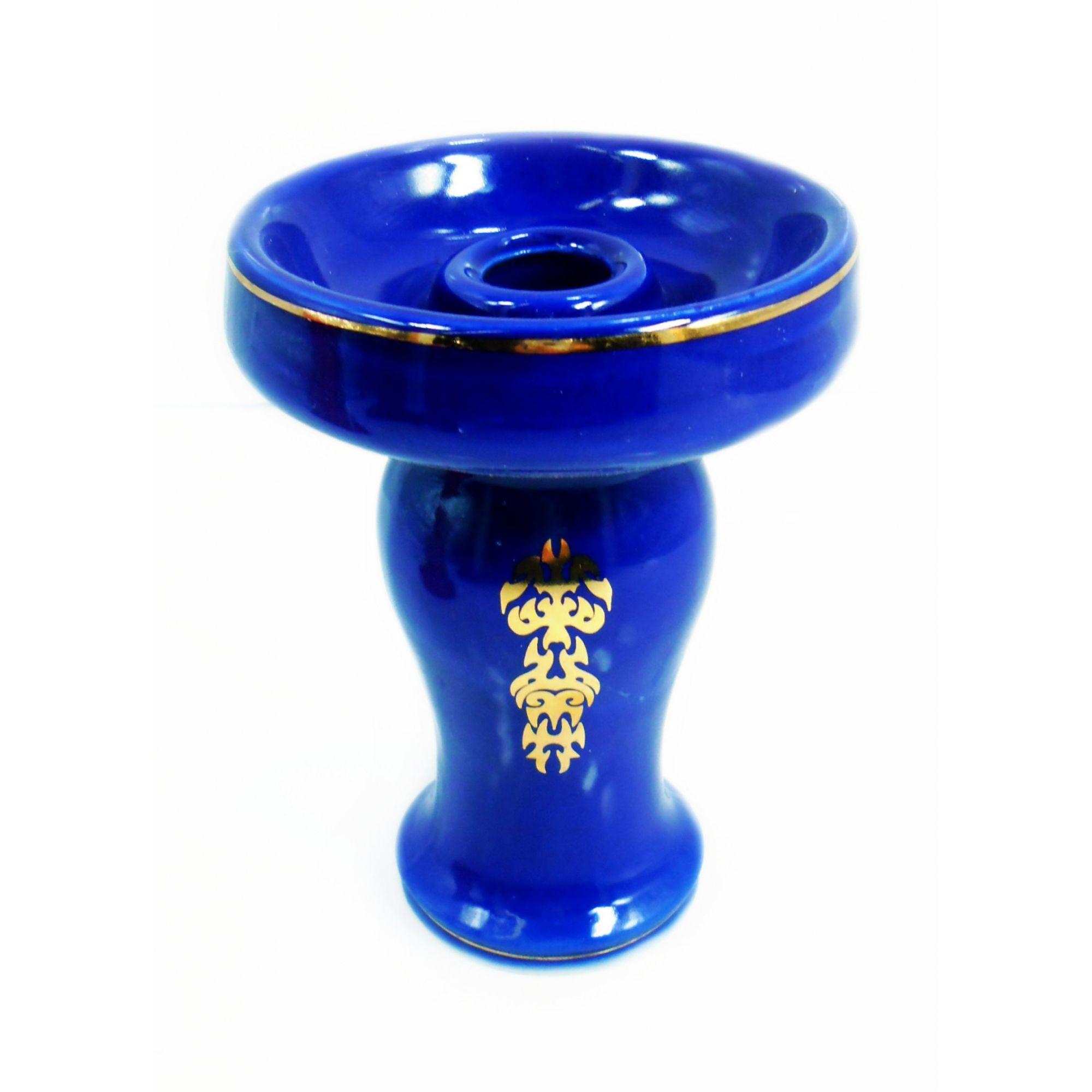 Fornilho/Rosh p/ narguile KIMO PLUS modelo O-4, em cerâmica decorado c/ pintura DOURADA, 11cm.