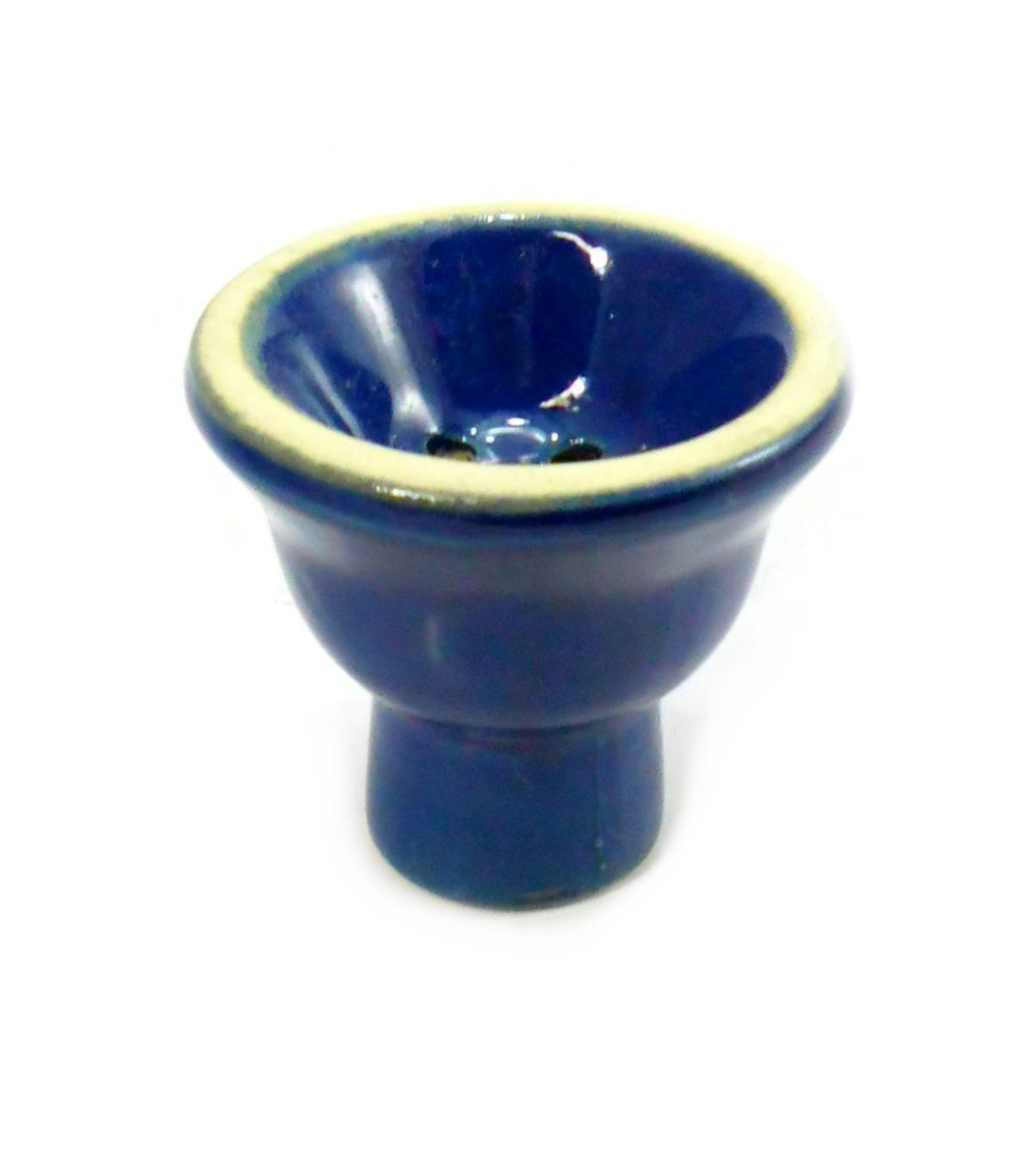 Fornilho/Rosh para narguile, em cerâmica, modelo tradicional (5 furos). 6,0cm alt., 6,0cm de diâm. Azul