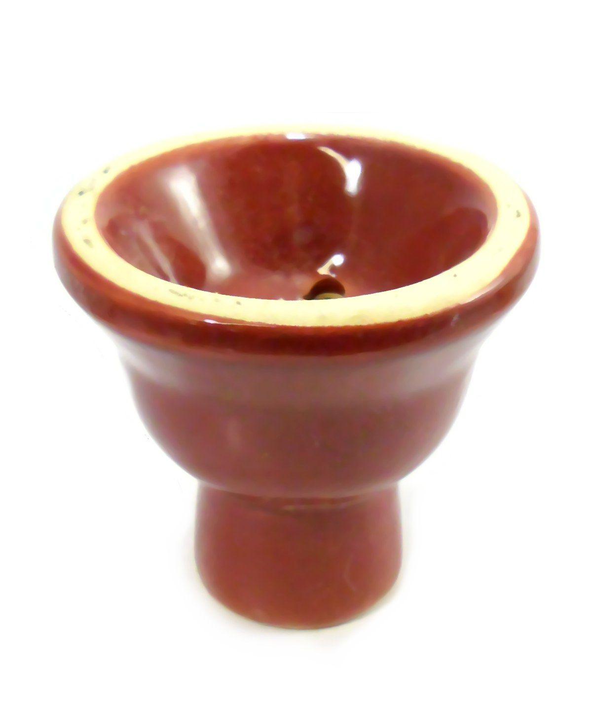 Fornilho/Rosh para narguile, em cerâmica, modelo tradicional (5 furos). 6,0cm alt., 6,0cm de diâm. Vermelho