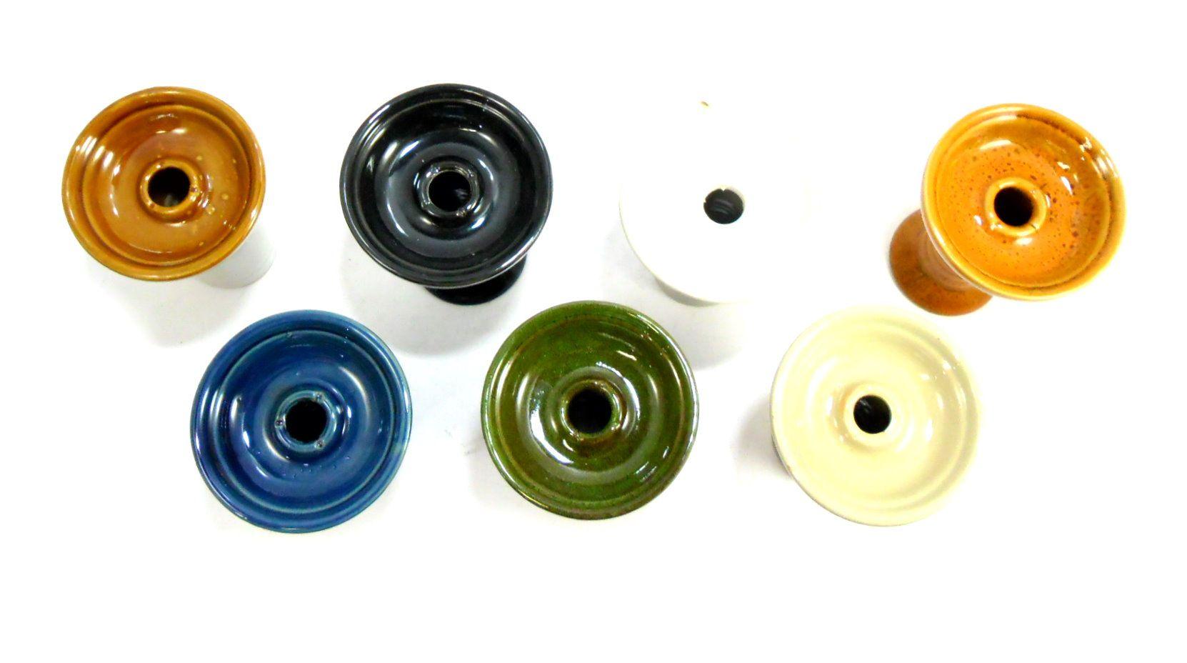 Fornilho/Rosh para narguile MD3 tipo FUNIL (Phunnel), alongado, em cerâmica 10,5cm altura.