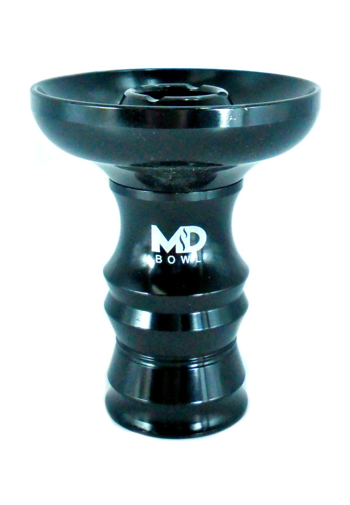 Fornilho/Rosh para narguile MD Bowl 9,2cm, em ALUMÍNIO. Cuba FUNIL c/canais. Encaixe com ranhuras.