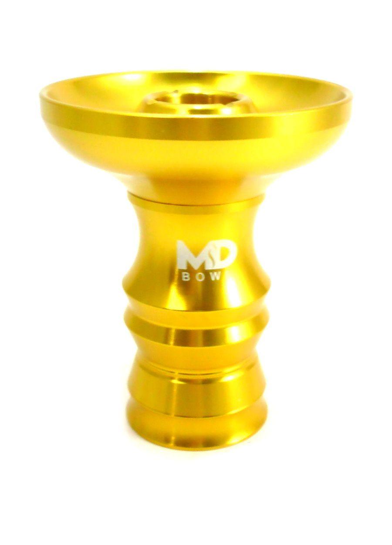 Fornilho/Rosh para narguile MD Bowl 9,2cm, em ALUMÍNIO. Cuba FUNIL c/canais. Encaixe com ranhuras. Dourado