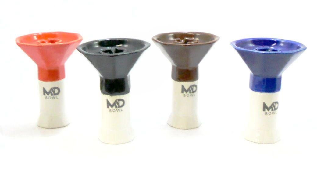 Fornilho/Rosh para narguile MD OCTA, tipo funil, oito lados (octagonal). Marca MD Bowl. Altura 11cm