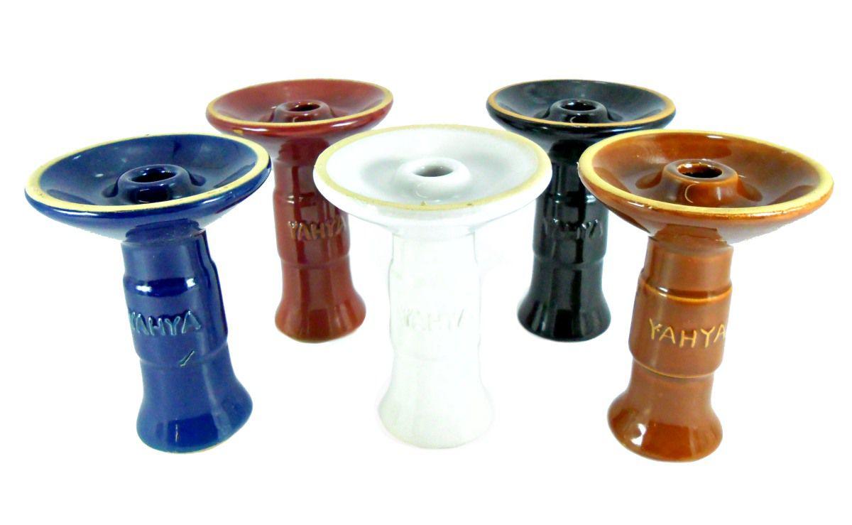 Fornilho/Rosh para narguile YAHYA Y38 tipo FUNIL (Phunnel), em cerâmica, 11cm de altura.