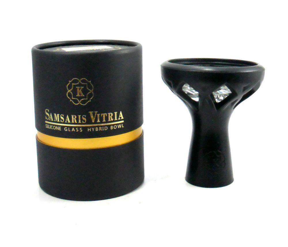 Fornilho/Rosh Samsaris Vitria II (em silicone com cuba de vidro) Preto, Kaloud original. 10,5cm alt.