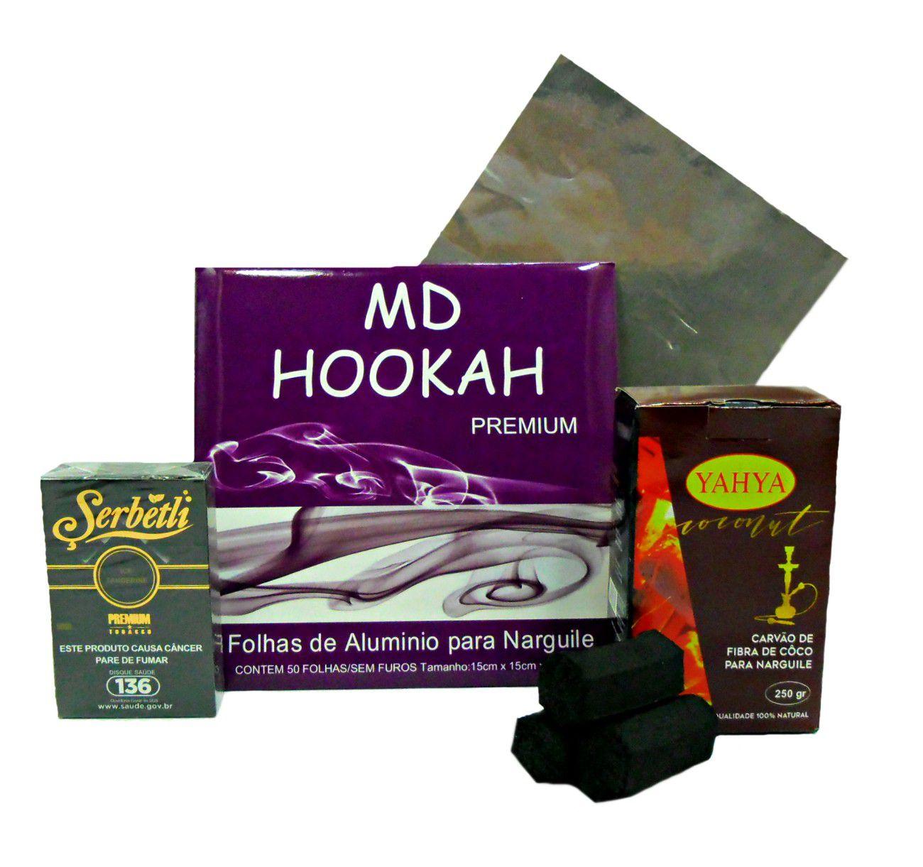 Kit:1 Essência Serbetli 50g (sabor a escolher após a compra) + carvão Yahya 250gr (15un) + alumínio MD c/50