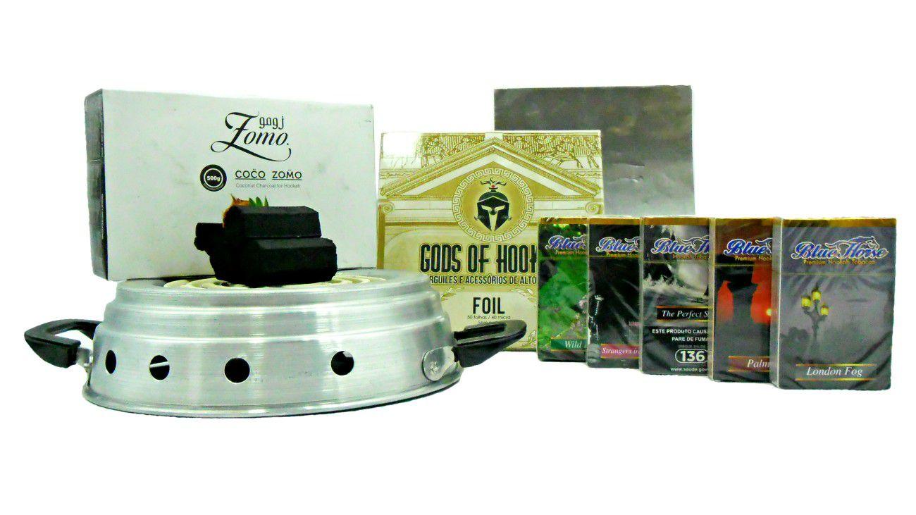 Kit:5 Essências Blue Horse 50g (sabor a escolher após a compra) + carvão Zomo 500gr + alumínio GODS 50un + fogareiro rd.