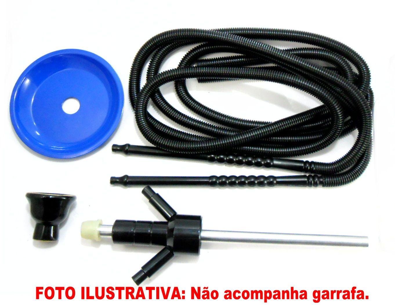 KIT COM: Narguile ABSOLUT® KING INOXIDÁVEL+Rosh+2 Mangueiras lavável GO HOSE+Prato+Adaptador absolut