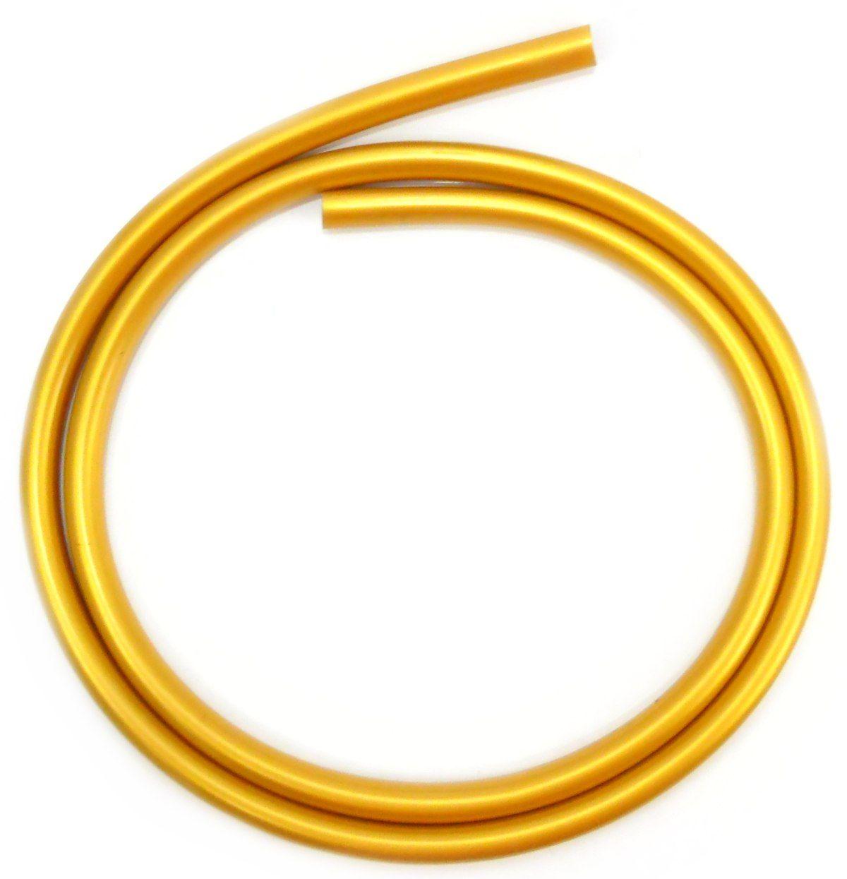Mangueira p/narguile em silicone antichamas super flexível e leve. Encaixa todas as piteiras. 1,60m. Dourado (13mm)