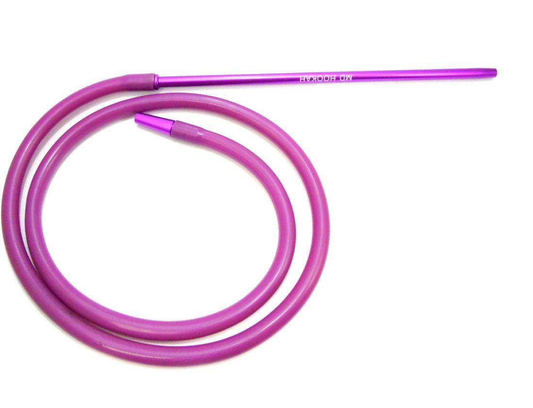 Mangueira p/narguile em silicone antichamas VINHO, com piteira de alumínio Slim (fina) LILÁS. 2m.