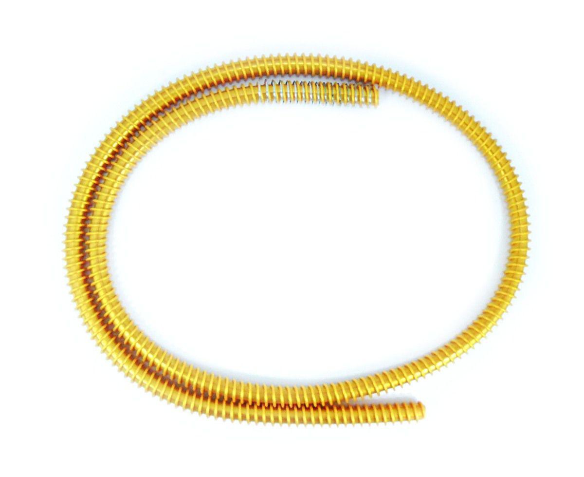 Mangueira p/ Narguile HELIX Rei do Narguile, em silicone antichamas com espiral externa e MOLA (spring). 1,65m. Dourada