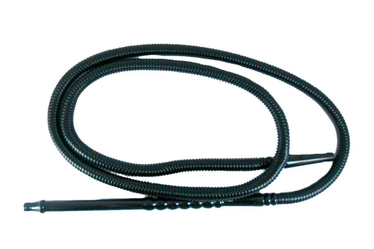 Mangueira p/narguile lavável MD HOSE BLACK em plástico corrugado preto e piteira preta. 1,80m.