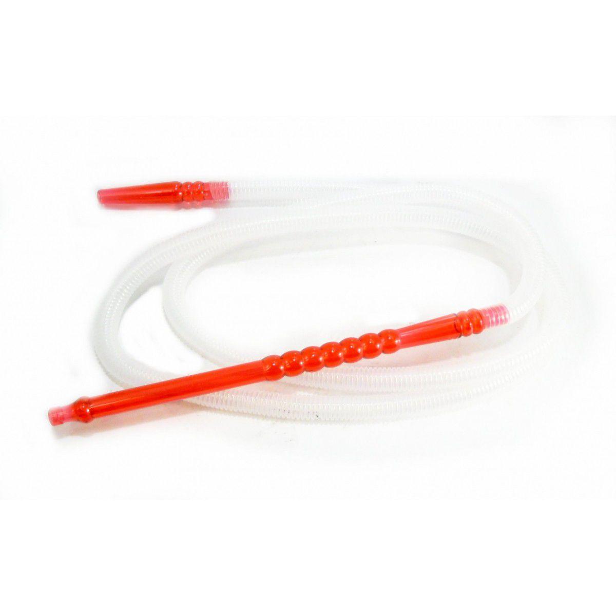 Mangueira p/narguile lavável MD HOSE Mundial, grossa, em plástico corrugado semitransparente. 2,20m. Vermelho