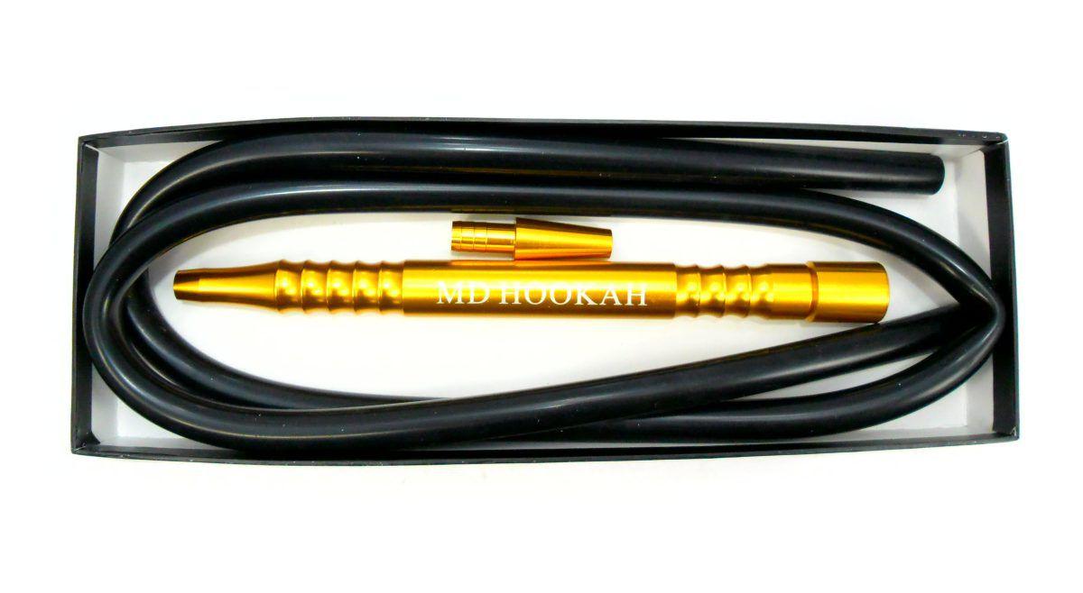 Mangueira p/narguile MD Hose em silicone antichamas PRETA com piteira GROSSA DOURADA. 1,80m.