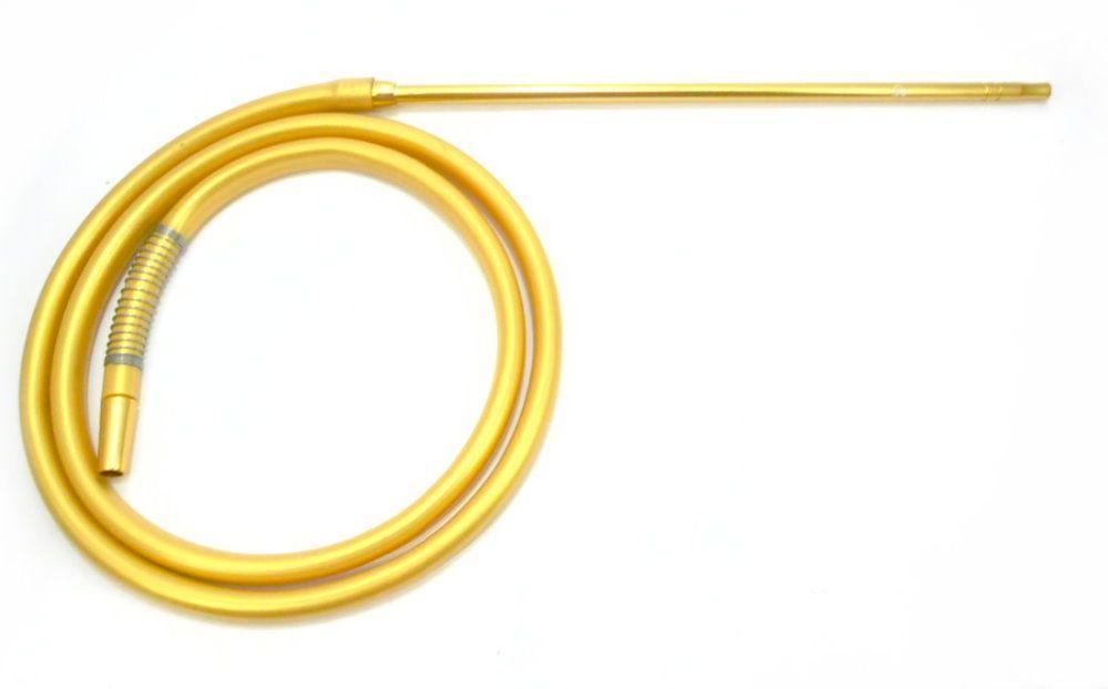 Mangueira p/narguile silicone antichamas DOURADA c/piteira fina alumínio DOURADO+1 mola (spring).2m.