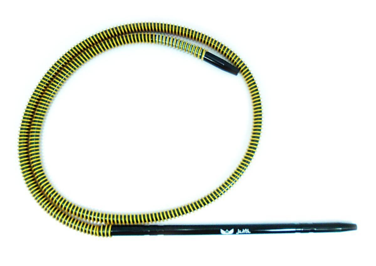 Mangueira p/narguile silicone antichamas HELIX PRETA ESPIRAL DOURADA, piteira alumínio PRETA e mola (spring).
