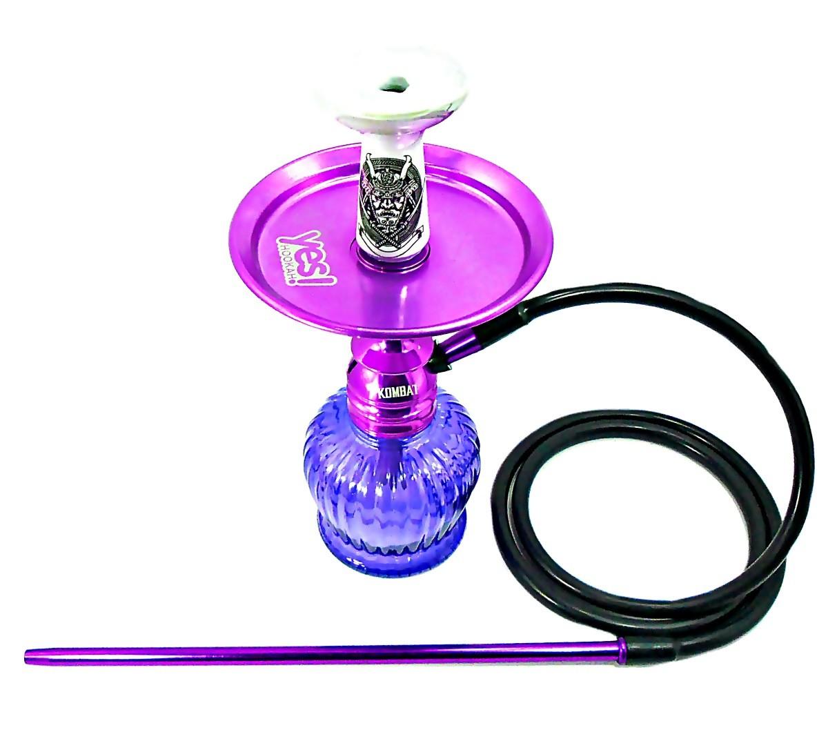 Narguile Amazon Kombat Lilás, vaso QT lilás, mangueira silicone, piteira alumínio, rosh Dr. Ed, prato Yes lilás