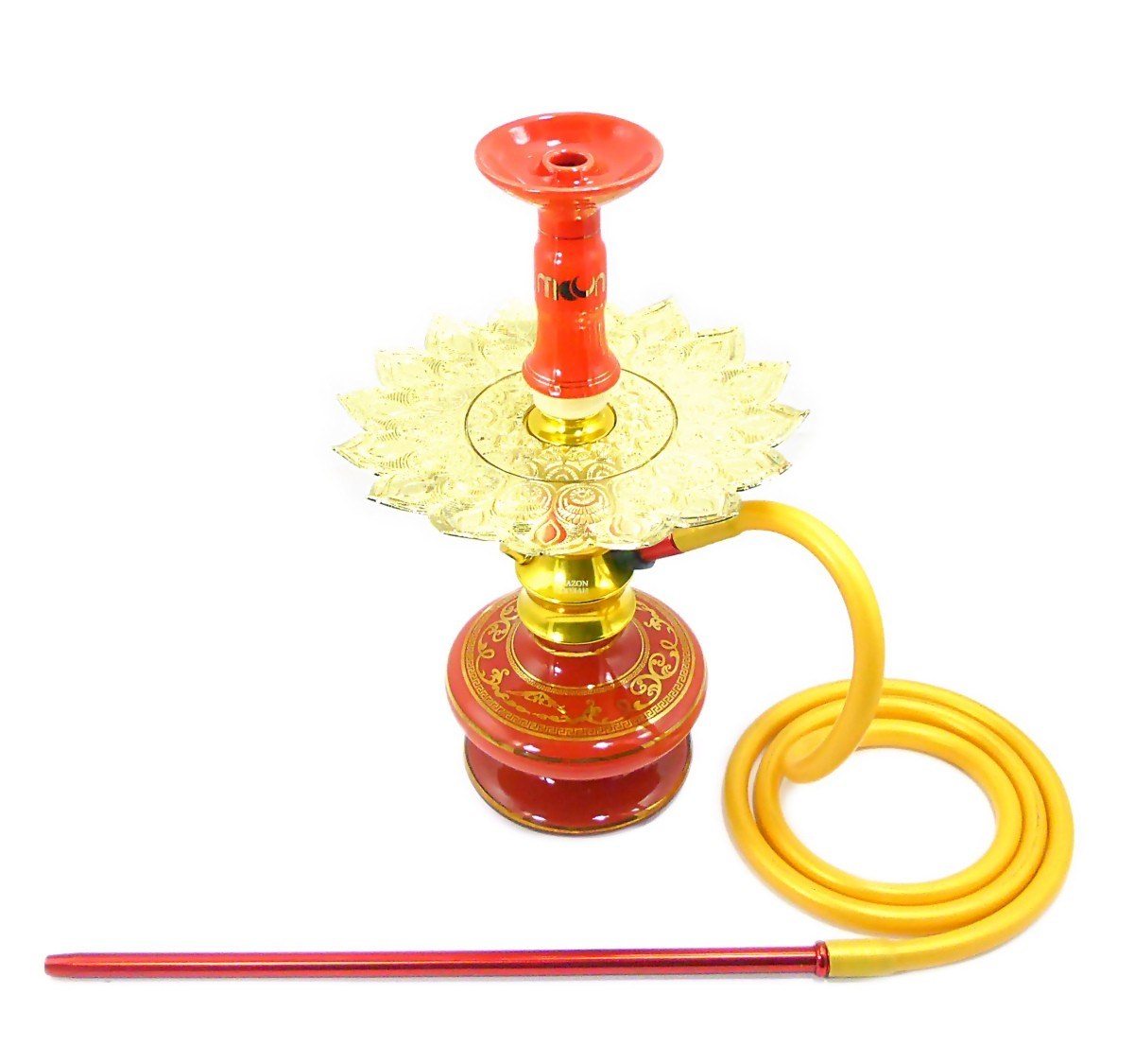 Narguile Amazon Lord Dourado anodizado, vaso Aladin Vermelho, mang.silicone, piteira alumínio, rosh Moon, prato Pérsia