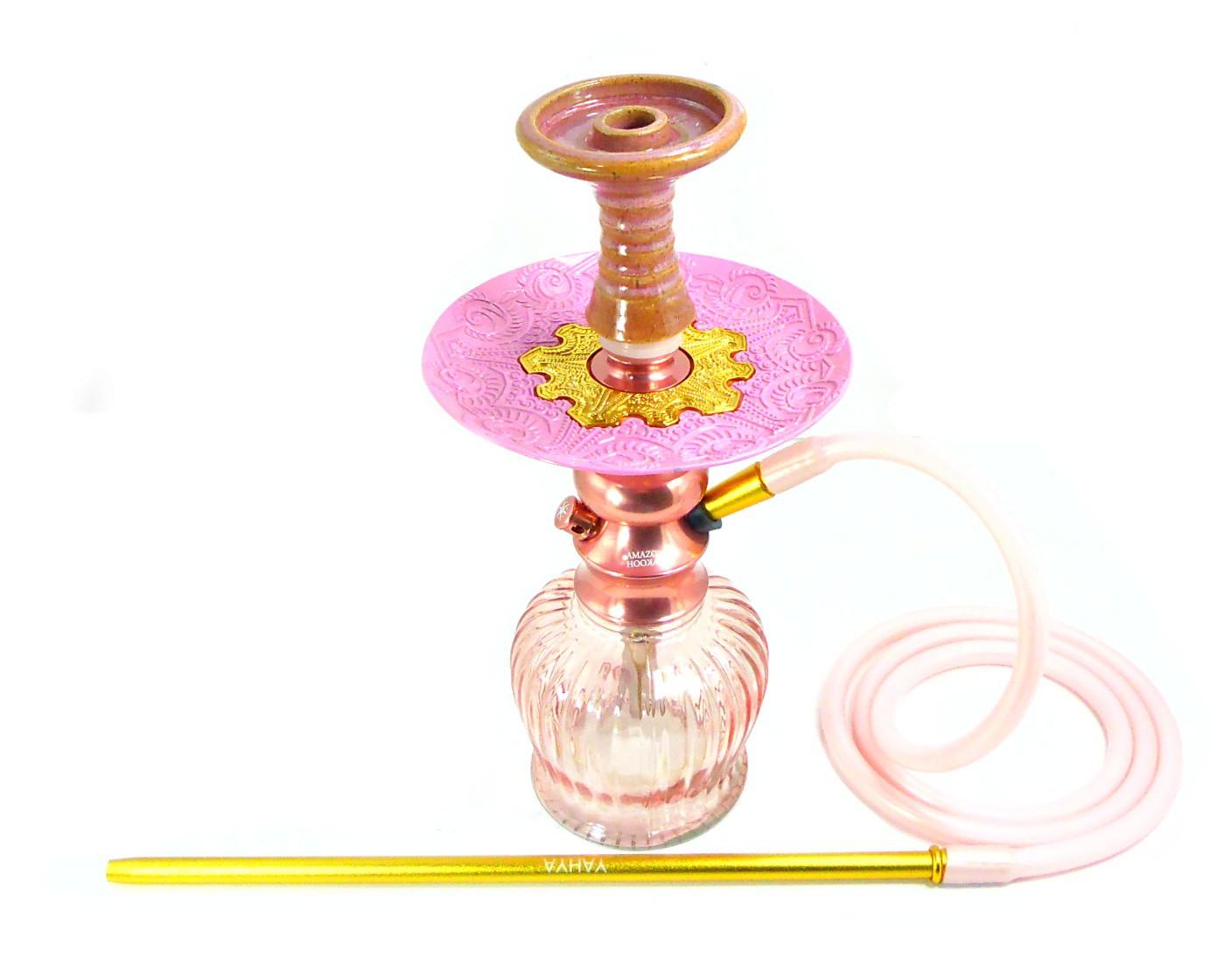Narguile Amazon Lord Rosé, vaso QT rosé, mang.silicone, piteira alumínio,rosh IL Bowl, prato Vennus Rosa e dourado