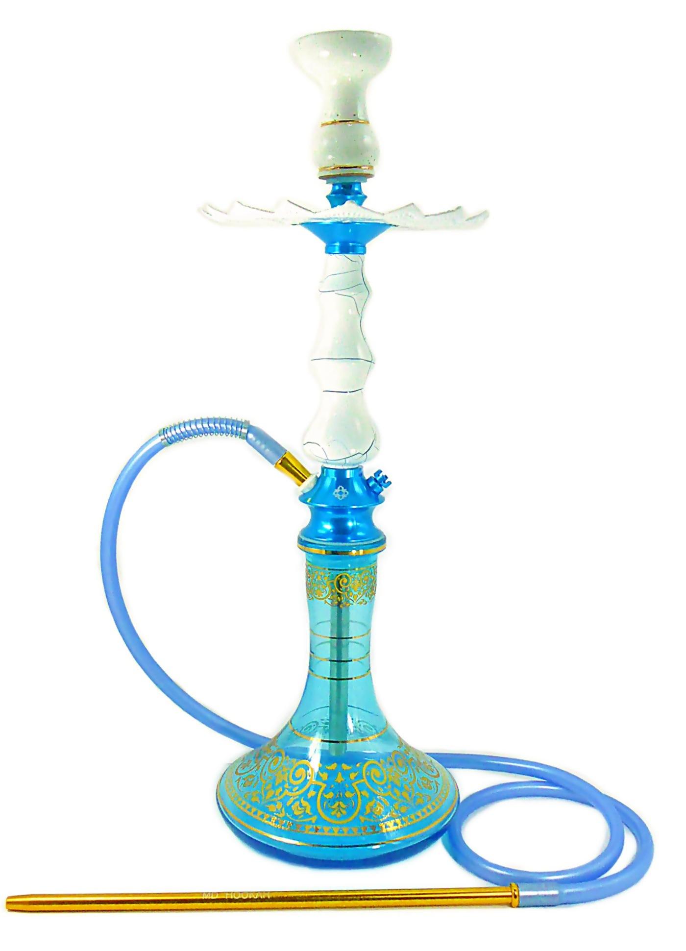 Narguile Amazon Pride Azul Claro / Ônix 65cm, vaso Aladin, mangueira silicone, piteira alum., rosh Amazon, prato Malik