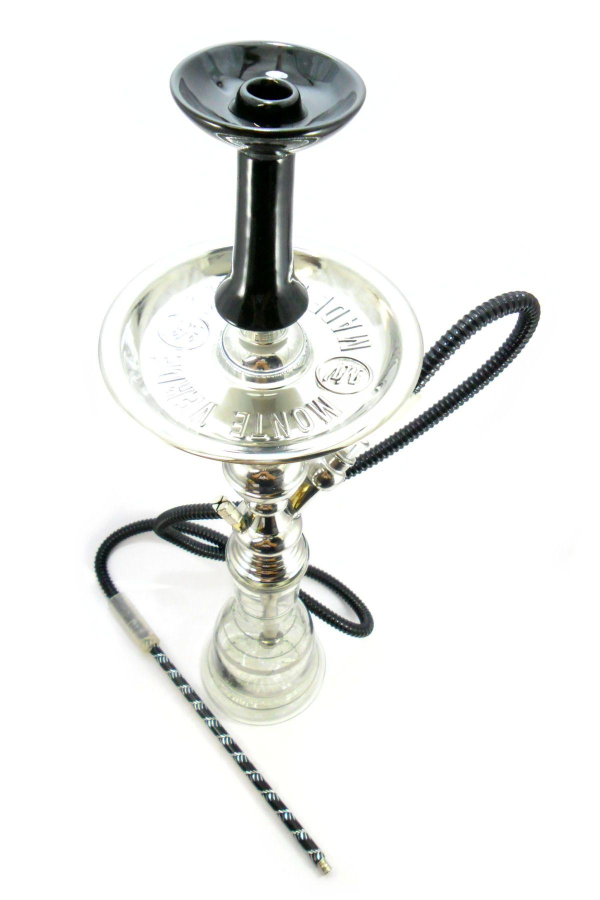 Narguile artesanal Egípcio YAHYA/MV mod.A69 cromado, 65cm de altura, com rosh funil Flux Bowl Preto.
