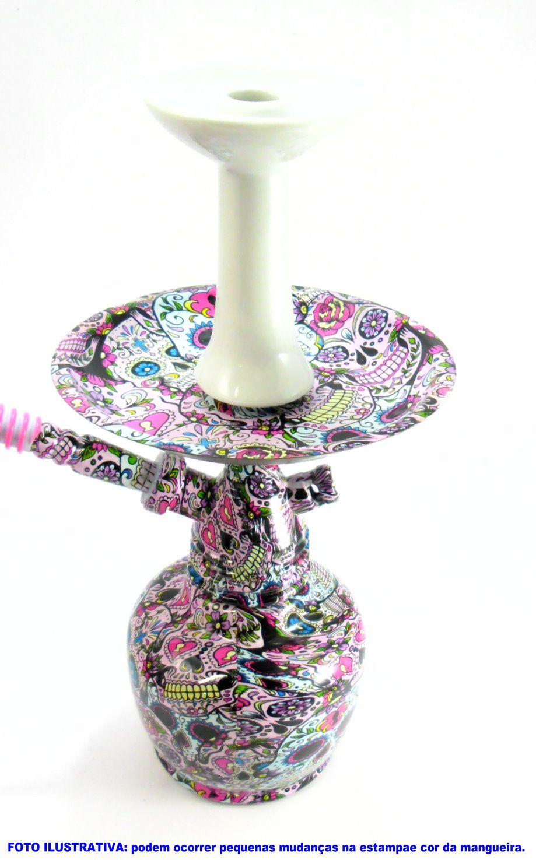 "Narguile Caveira Mexicana ""La Catrina"" 34cm. Stem polipropileno, rosh preto, prato metal, vaso vidro"