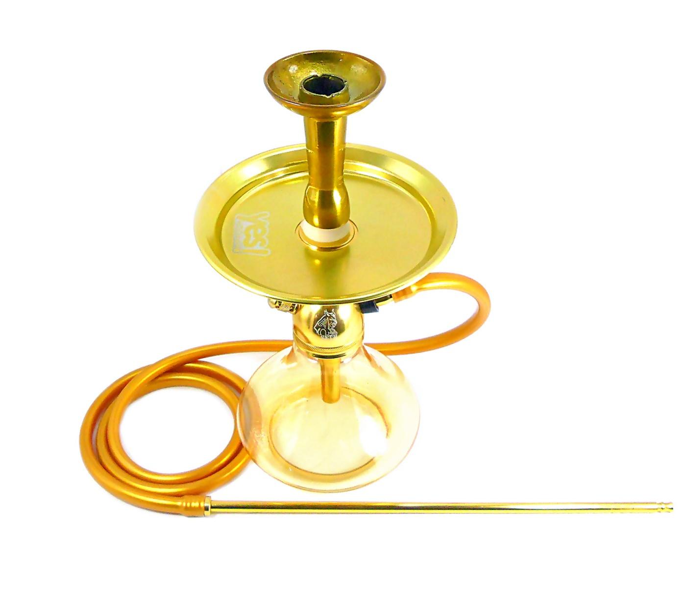 Narguile completo. Stem Malik Seth 35cm DOURADO vaso Aladin, mangueira silicone, prato, piteira e rosh alumínio dourado