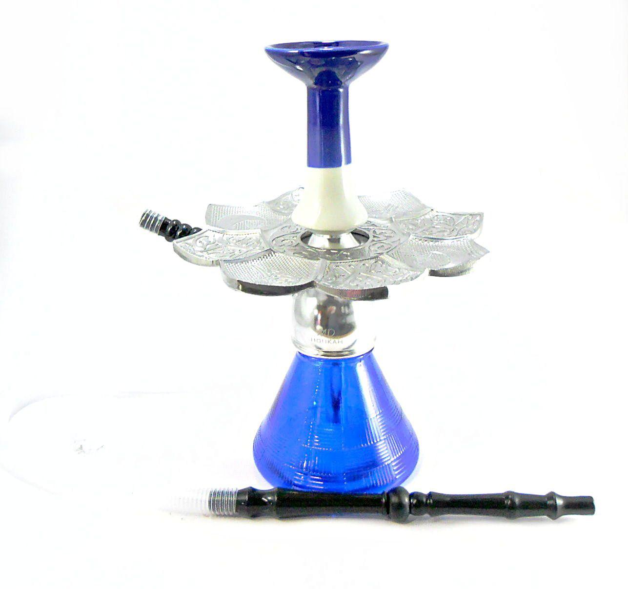 Narguile Completo:Stem MD alumínio, vaso AZUL, mangueira lavável, rosh funil e prato El Nefes Crom.